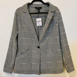 SINGLE-BREASTED HOUNDSTOOTH BLAZER